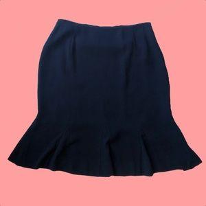 Black Alfani Knee Length Skirt with Flared Hem
